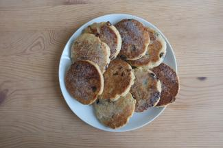 Plate of Welsh cakes on a table
